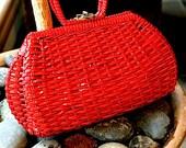 1950s Red Woven Purse Handbag straw