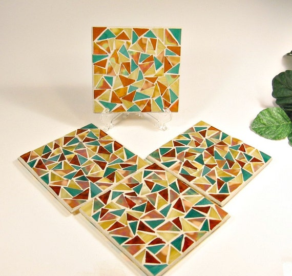 Stained glass mosaic coaster set teal green amber gold