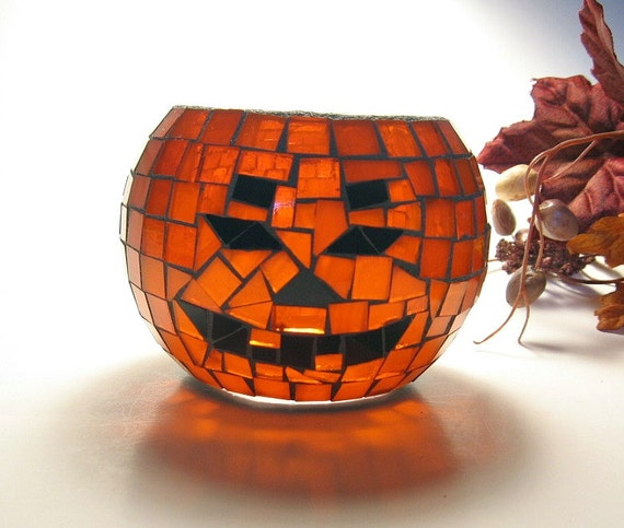 Stained glass mosaic candle holder jack o lantern pumpkin