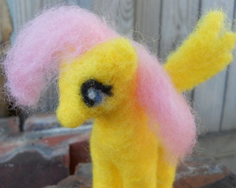 Needle Felt Fluttershy Plush Toy / My Little Pony Friendship is Magic Figurine / Fantasy Winged Pegasus Pony / Yellow MLP FiM