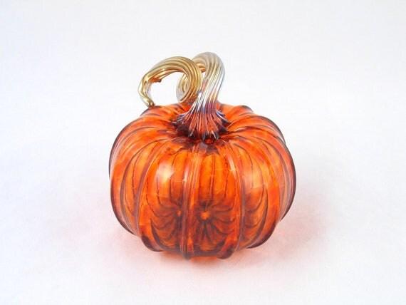 Harvest Fall Decor Blown Glass Pumpkin Art Glass by AvolieGlass