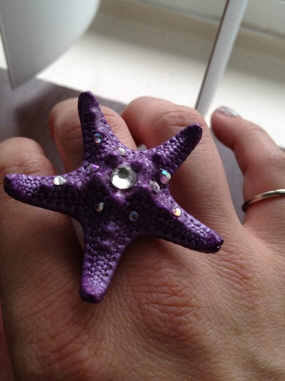 Little Mermaid Inspired PURPLE 'SPARKLEFISH' RING