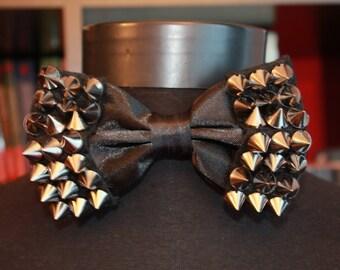 Studded Black Bow Tie Rock Bowtie Punk Bowtie Steampunk Bowtie Goth Bowtie