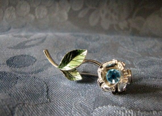 Vintage Avon Flower Pin Turquoise Rhinestone Nina Ricci