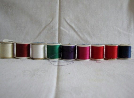 Nine Spools Vintage Thread Coats Dual Duty Mercerized Cotton Covered Polyester