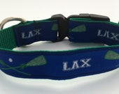 Lacrosse Dog Collar - Preppy Navy with Green LAX Sticks and Letters