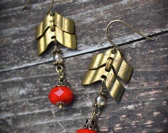 Brass Chevron Chain Earrings red Czech glass assemblage earrings
