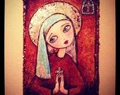 Catholic Saint- Mixed Media/Embellished Print