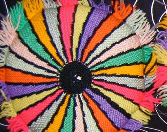 Vintage ONE Groovy Knit & Corduroy Pillow. 1970's.  Mod, Mid century modern, Danish Modern, Eames Panton era. Rainbow.