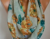 Spring Floral Infinity Scarf Shawl Circle Scarf Loop Scarf  Gift -fatwoman