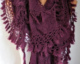 Burgundy Ruffle Tassel Scarf, OOAK SCARF, Fall Winter Accessories, Shawl Scarf, Cowl Scarf, Gift Ideas For Her, Women Fashion Accessories