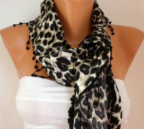Leopard  Women  Scarf - Cowl Scarf - Shawl  with Lace Edge - Black