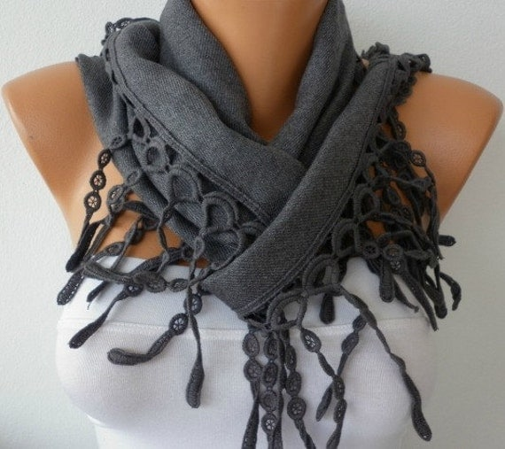 Gray Scarf Pashmina  Scarf - Cotton Scarf -Women Scarf - Cowl with Lace  Edge - fatwoman