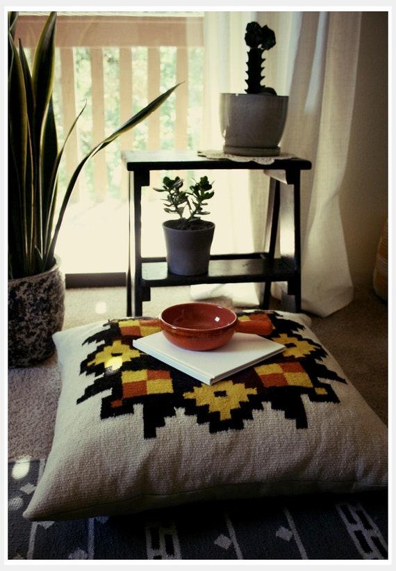 Large Woven Vintage Blanket Floor Pillow