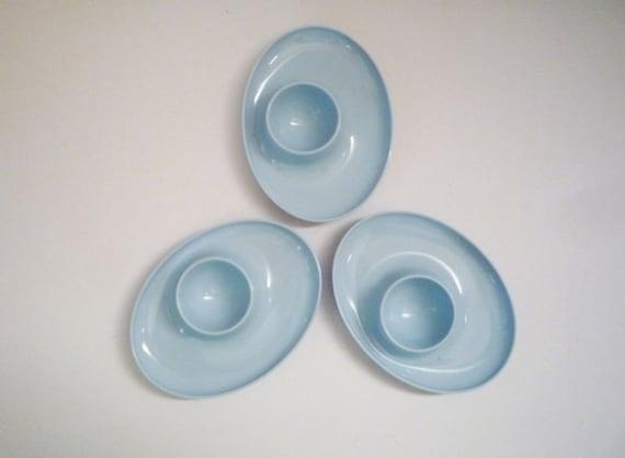 Collection of 3 Blue Vintage Eggcups
