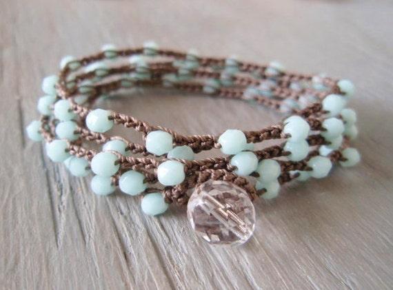SALE 10% OFF Sky Blue crochet wrap bracelet necklace 'Calm' long 5x wrap jewelry, baby blue, shabby boho chic, pastel, ready to ship