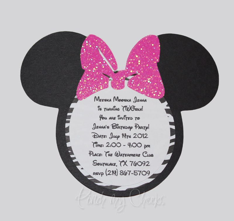 minnie mouse invitations with zebra print hot pink glitter bow, Birthday invitations