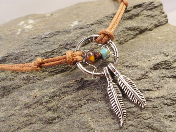 Dream Catcher Anklet or Bracelet Natural Colors