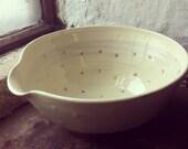 Terracotta slipware pouring salad bowl - circle print design