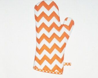 Oven Mitt - Orange and White Chevron - Gift for Foodie- Gift Under 20