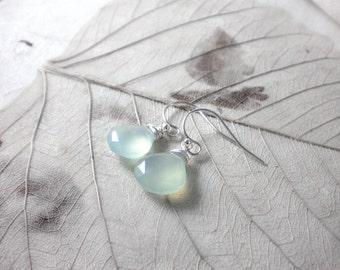 Aqua green chalcedony earrings on sterling silver ear hooks, gemstone earrings, drop earrings