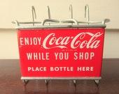 Coca cola bottle holder for shopping cart.  1950s coca cola bottle carrier for buggy.