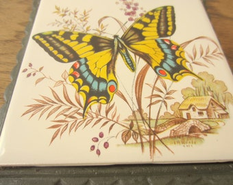 Anthropologie style Vintage and Vivid butterfly iron trivet.  Home decor yellow butterfly trivet.