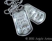 2 Custom Memorial Dog Tags - Distressed Stainless Steel- Military Spec-  Personalized Remembrance Gift for Men Teens Children ID Tags