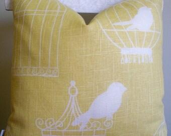Yellow Bird Pillow Yellow Birdcage Pillow Duralee Birdcage Canary 16 18 20 BOTH SIDES