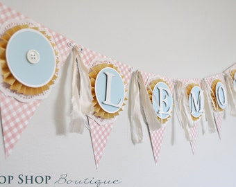 Shabby Chic Birthday Banner, Name Banner, Special occasion