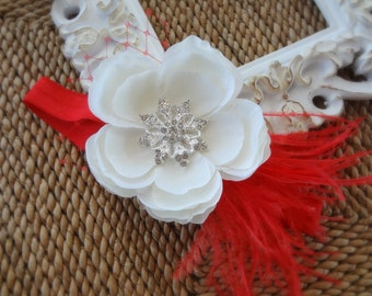Baby Girl Headband..Baby Headband..Baby Headbands..Red and White Flower Headband..Christmas Headband..White Flower Red Feathers Headband