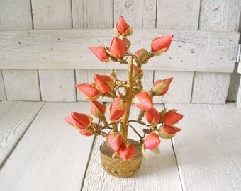 Vintage silk plant red rosebud faux flowers gold pot