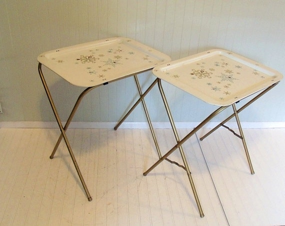 Vintage Metal Tray Tables Set of 2 - Retro Hand Painted ToleWare Collection - BoHo Bistro Service