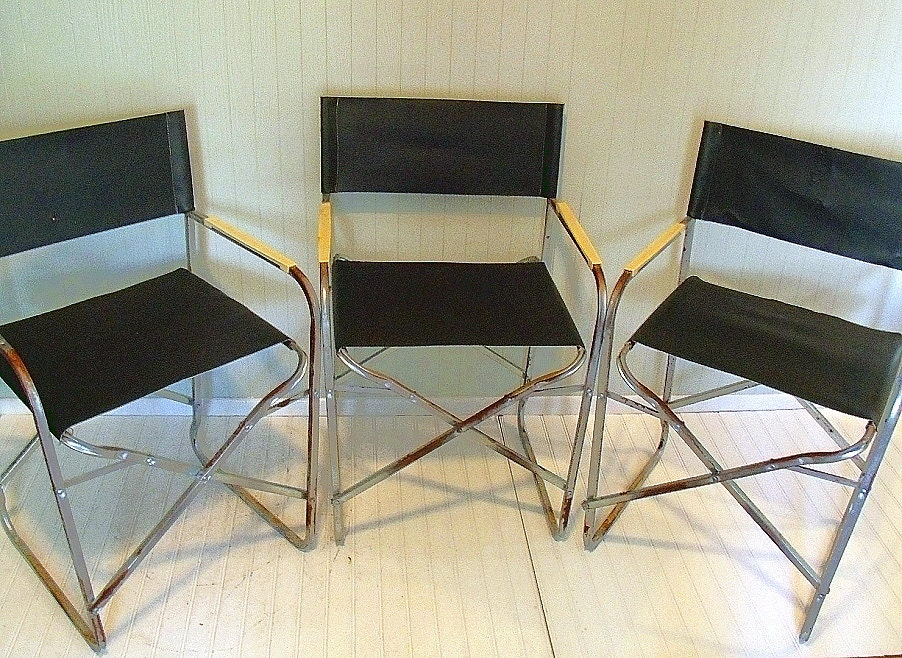 Vintage Chrome Amp Vinyl Industrial Director Chairs By