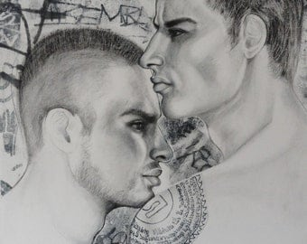 Original charcoal drawing Mixed Media Portrait Drawing Gay Male Couple with Matching Tattoos in an Urban Graffiti Enviorment