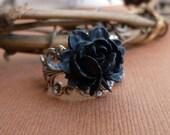 Antiqued Silver  Black Rose Adjustable Ring -- Trinity Brass Base -- Vintage Style Flower Ring -- Steampunk