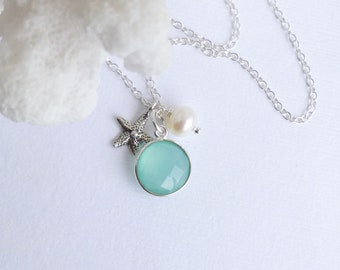 Sterling Silver Framed Sea Green Chalcedony Stone with Sterling Starfish and Pearl Necklace -- Bezel Aqua Stone