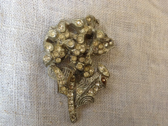 Pot Metal rhinestone Flower for assemblage 1920s 30s