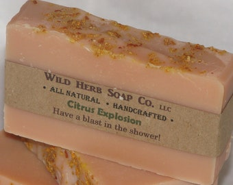 CITRUS EXPLOSION Natural Vegan Soap Bar - NO Nut Oils - Eco-friendly for all Skin Types