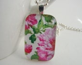 Pink Peonies Mini Domino Pendant with Free Necklace