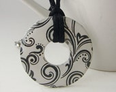 Black Swirl Washer Pendant with Free Necklace