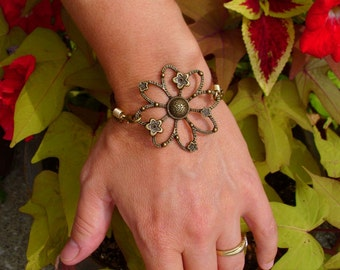 Bronze Flower Bracelet with Brown Braided Leather and Bronze Chain