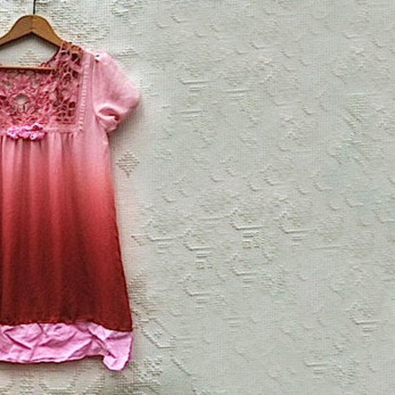 ombre Pink tunic winter upcycled vintage linen handmade roses hand dyed, lace  gypsy boho top