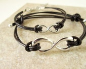 Chocolate Brown Leather Infinity Set for Him and Her