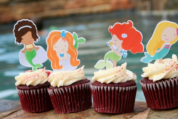 Mermaid Cupcake Toppers Set of 12
