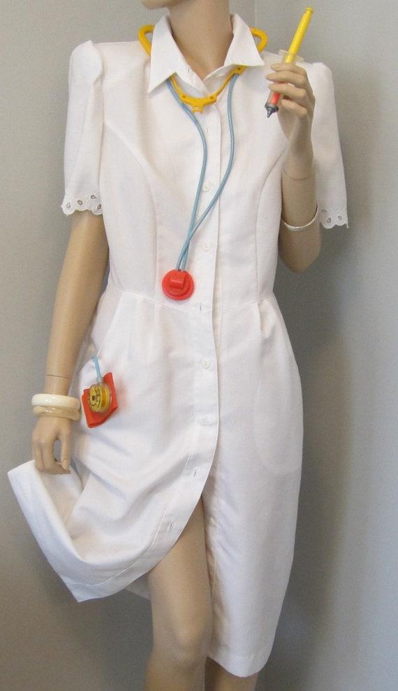 Vintage Nurse Hospital Uniform White Dress By