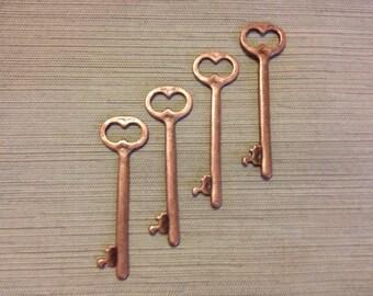 Shelley Skeleton Keys 4 x Antique Copper Keys Copper Skeleton Key Vintage Key Charms Jewellery Making Key Pendants