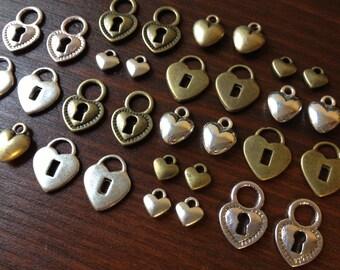 Hearts & Locks - 32 x Antique Bronze and Silver Hearts and Locks Vintage Bronze and Silver Heart Locks to match Skeleton Keys Set