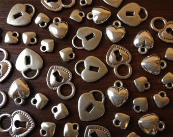 Hearts & Locks - 32 x Antique Silver Hearts and Locks Vintage Silver Heart Locks to match Skeleton Keys Set