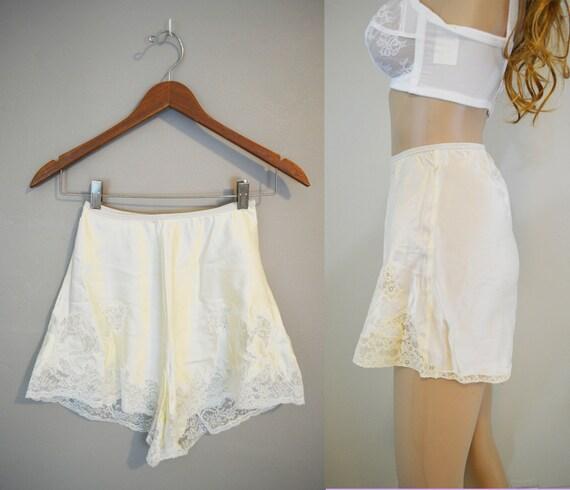 1940s Ivory Satin Panties / Vintage Panties / Tap by ShopWildLove